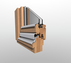 Wooden window with 68mm frame