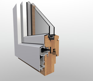 Wooden window with aluminium casing with 68mm frame